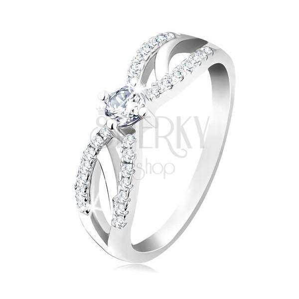 Zaręczynowy pierścionek ze srebra 925, rozdzielone lśniące ramiona, bezbarwna cyrkonia