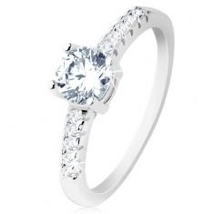Zaręczynowy pierścionek, srebro 925, ramiona wyłożone cyrkoniami, okrągła bezbarwna cyrkonia