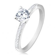 Zaręczynowy pierścionek, srebro 925, płaskie ramiona, bezbarwna okrągła cyrkonia