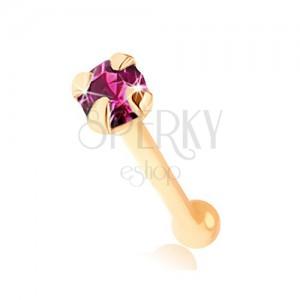 Piercing do nosa w żółtym 9K złocie - okrągła cyrkonia fioletowego koloru