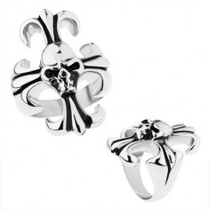 Masywny pierścionek ze stali 316L, srebrny kolor, liliowy krzyż z czaszką