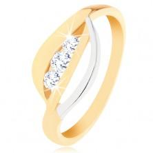 Złoty pierścionek 375 - dwukolorowe faliste pasy, trzy okrągłe cyrkonie bezbarwnego koloru