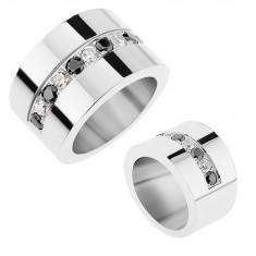 Lśniący pierścionek ze stali 316L o lustrzanym połysku, bezbarwne i czarne błyszczące cyrkonie