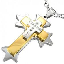 Stalowa zawieszka ostrokątny dwukolorowy krzyż
