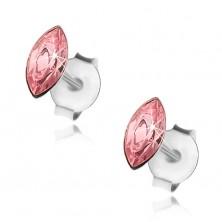 Srebrne kolczyki 925, różowe ziarenko, Swarovski kryształ, sztyfty