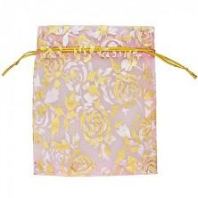 Opakowanie na prezent - pleciony woreczek, różowy