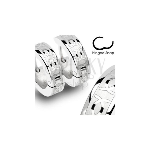 Stalowe kolczyki z podwójnym CC - para