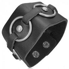Czarna skórzana bransoletka - stalowe koła