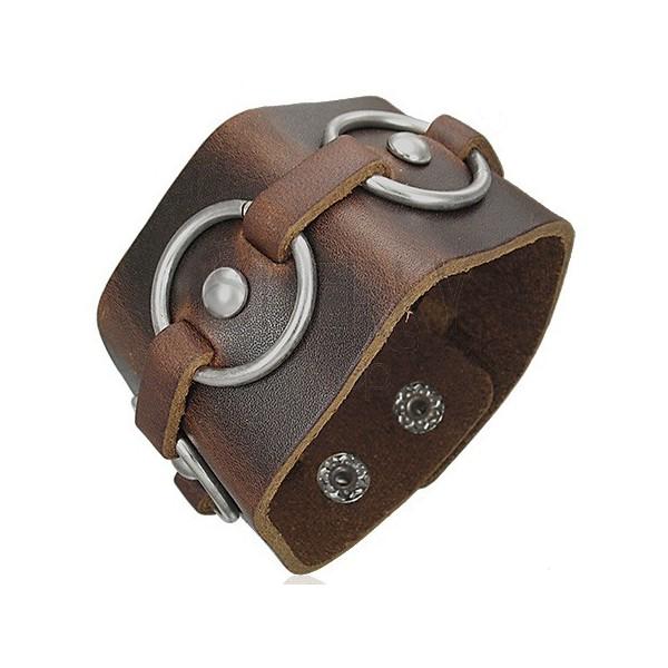 Brązowa skórzana bransoletka - stalowe koła