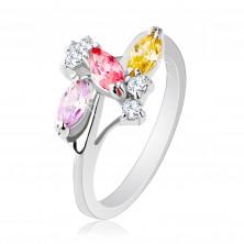 Błyszczący pierścionek o lśniących ramionach, srebrny kolor, przezroczyste i kolorowe cyrkonie