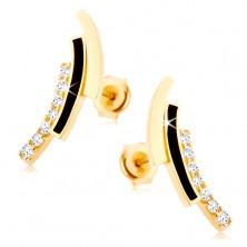 Kolczyki w żółtym 9K złocie - cyrkoniowy, czarny i gładki łuk, wkręty