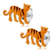 Srebrne kolczyki 925, pomarańczowy tygrys z czarnymi paseczkami, wkręty