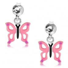 Srebrne 925 kolczyki, przezroczysty kryształek, motyl z różowymi skrzydłami i wycięciami