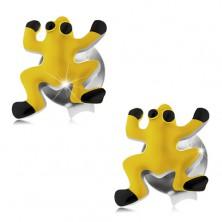 Kolczyki ze srebra 925, żółta żabka, czarne oczy i nóżki