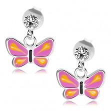 Srebrne kolczyki 925, motyl z fioletowymi skrzydłami, żółte łezki, przezroczysty kryształ