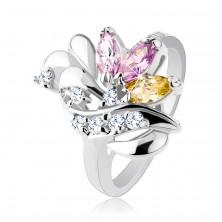 Błyszczący pierścionek, ziarenkowe kolorowe cyrkonie, lśniące łezki i błyszcząca fala