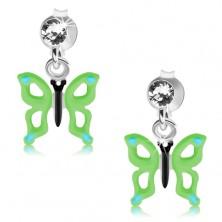 Srebrne kolczyki 925, przezroczysty kryształ Swarovskiego, zielono-niebieski motyl