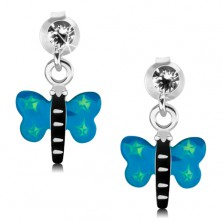 Kolczyki ze srebra 925, motyl z niebieskimi skrzydłami i zielonymi gwiazdeczkami