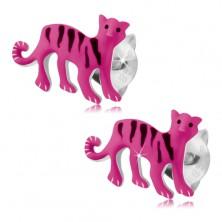 Srebrne 925 kolczyki, różowy tygrys z czarnymi paseczkami, wkręty