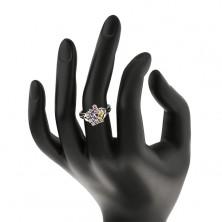 Błyszczący pierścionek, kolorowe cyrkoniowe ziarenka i okrągłe przezroczyste cyrkonie, ramiona z połyskiem