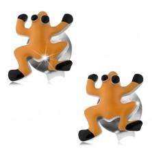 Kolczyki ze srebra 925, pomarańczowa emaliowana żabka, czarne oczka i nóżki