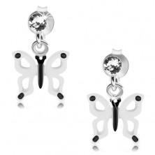 Kolczyki ze srebra 925, biało-czarny motylek z wycięciami na skrzydłach, kryształ