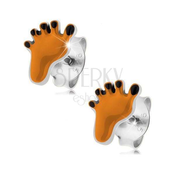Srebrne 925 kolczyki, nóżka ozdobiona pomarańczową i czarną emalią