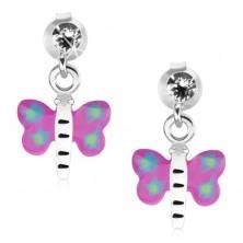 Kolczyki ze srebra 925, motyl z fioletowo-niebieskimi skrzydłami i białym ciałem