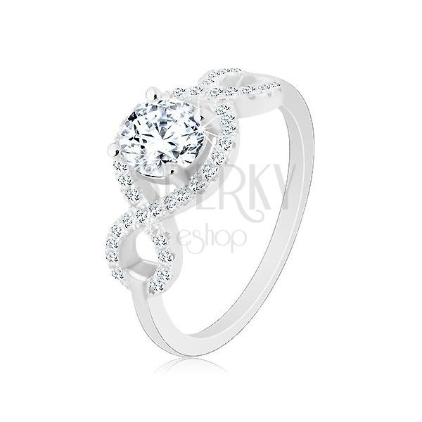 Zaręczynowy pierścionek, srebro 925, cyrkoniowe fale, okrągła wyszlifowana cyrkonia