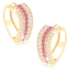 Okrągłe kolczyki w żółtym 14K złocie - faliste linie z przezroczystych i różowych cyrkonii