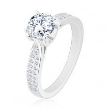 Zaręczynowy pierścionek, srebro 925, zwężone błyszczące ramiona, okrągła cyrkonia