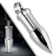 Zawieszka ze stali w srebrnym odcieniu - nabój z błyszczącym, szpiczastym końcem