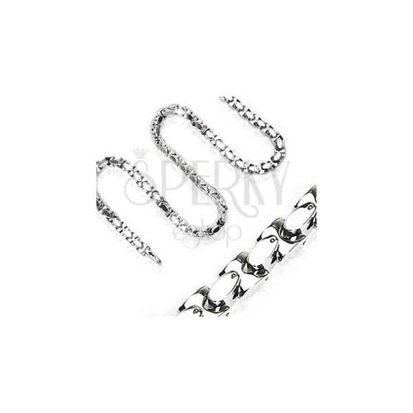 Łańcuszek ze stali chirurgicznej, lśniące połączone H ogniwa, srebrny kolor