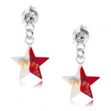 Kolczyki ze srebra 925, przezroczysty kryształek, czerwono-biała gwiazda z dekoracją
