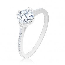 Zaręczynowy pierścionek ze srebra 925, wąskie błyszczące ramiona, okrągła cyrkonia