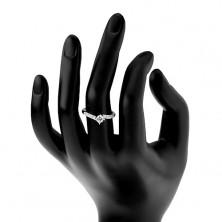 Zaręczynowy pierścionek ze srebra 925, cienkie błyszczące ramiona, okrągła bezbarwna cyrkonia