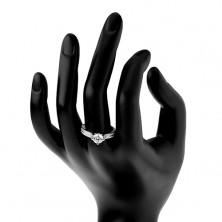 Srebrny pierścionek 925, podwyższona okrągła cyrkonia, przezroczyste cyrkoniowe pasy