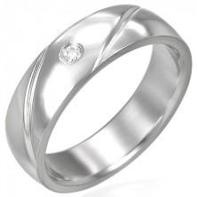 Stalowy pierścionek obrączka z cyrkonią