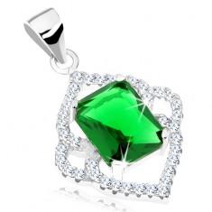 Srebrna zawieszka 925, szmaragdowo zielony prostokąt, przezroczysta szpiczasta oprawa