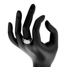 Pierścionek srebrnego koloru, rozdzielone ramiona, okrągłe kolorowe cyrkonie