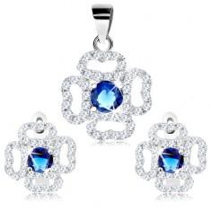 Zestaw ze srebra 925, kolczyki i zawieszka, przezroczysty zarys kwiatu, niebieska cyrkonia