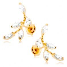 Kolczyki w żółtym 14K złocie - błyszcząca gałązka, przezroczyste cyrkoniowe listki