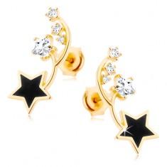Kolczyki w żółtym 14K złocie - dwa cienkie łuki, czarna i cyrkoniowa gwiazdeczka
