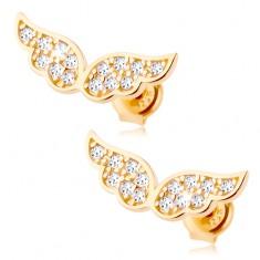 Złote kolczyki 585 - błyszczące anielskie skrzydła wyłożone przezroczystymi cyrkoniami