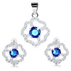 Zestaw kolczyków i zawieszki ze srebra 925, niebiesko-bezbarwny błyszczący kwiat