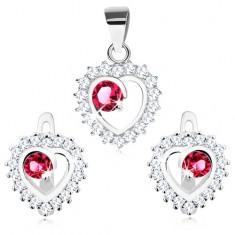 Srebrny 925 zestaw - kolczyki i zawieszka, przezroczysty zarys serca, okrągła różowa cyrkonia