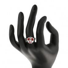 Pierścionek srebrnego odcieniu, kwiat z pomarańczowymi cyrkoniowymi serduszkami