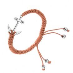 Brązowa pleciona bransoletka ze sznurków, kotwica srebrnego koloru