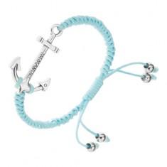 Regulowana bransoletka na rękę z niebieskich sznurków, duża kotwica