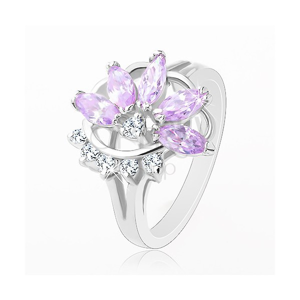 Pierścionek srebrnego koloru, jasnofioletowy cyrkoniowy kwiat, przezroczyste cyrkonie